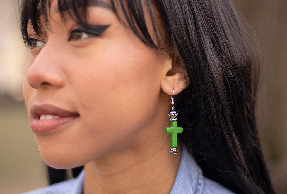 Green Cross Earrings