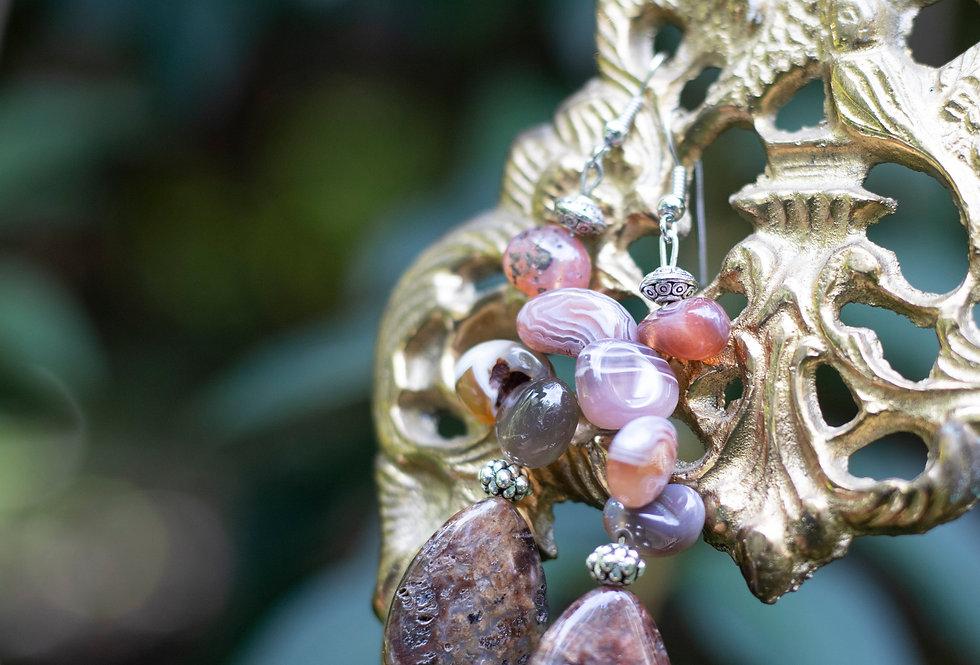 Purple & Yellow Stone Earrings