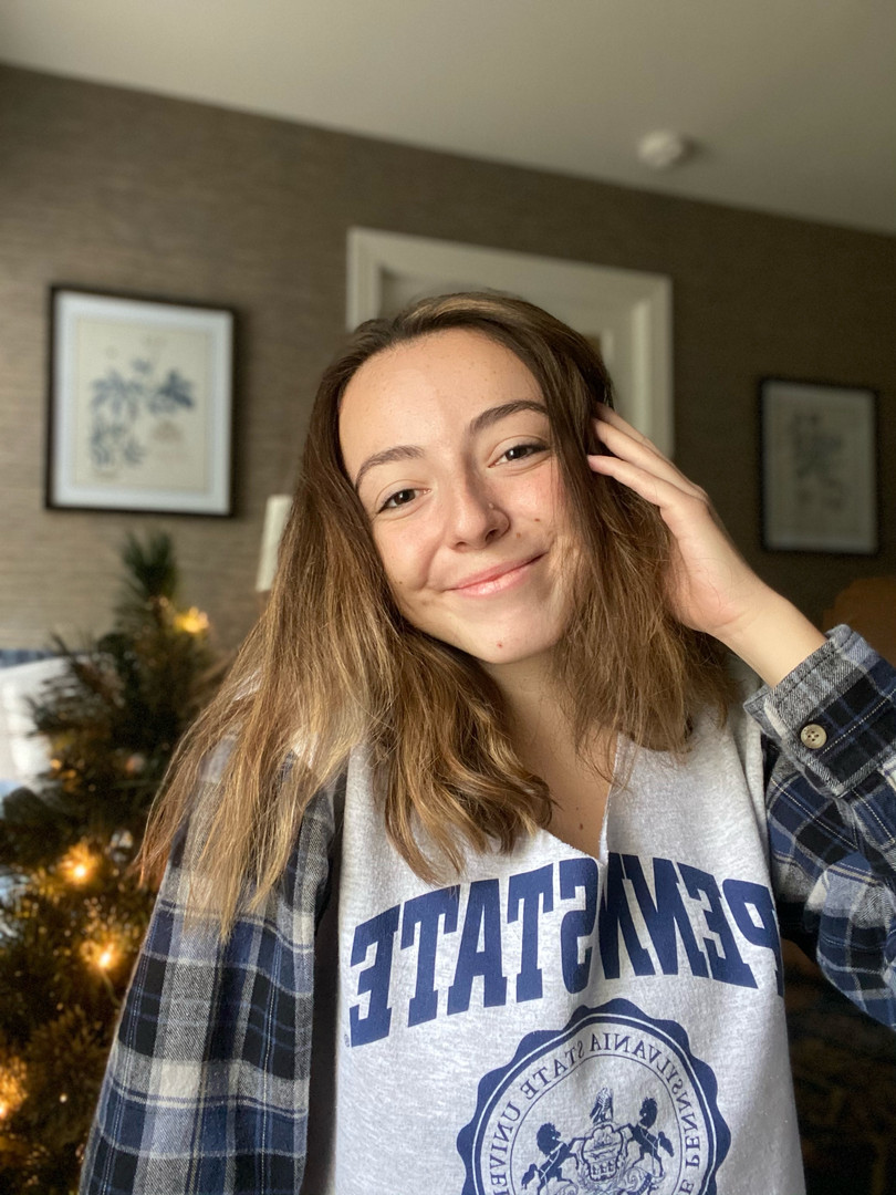 Mary in our Penn State Flannel-Sleeve Sweatshirt