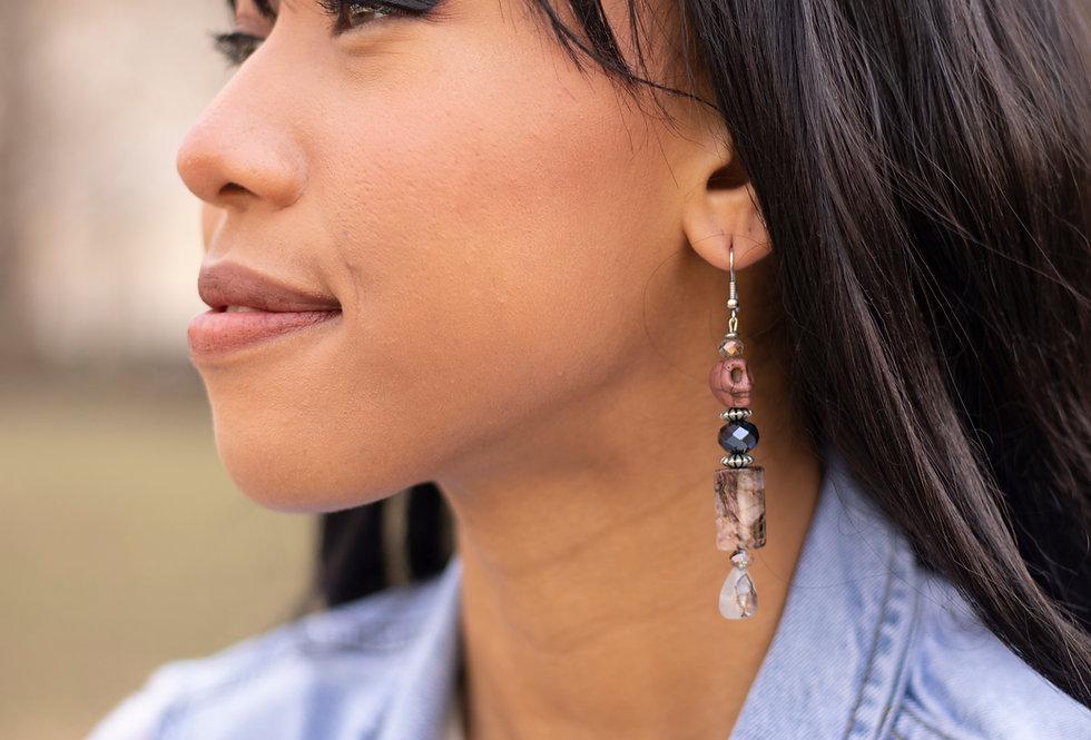 Mixed Bead Skull Earrings