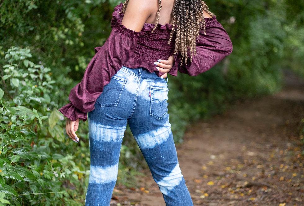 Bleached Stripe Jeans