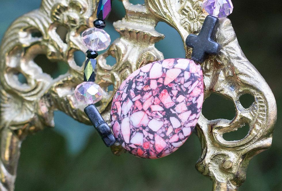 Pink & Black Cross Bracelet