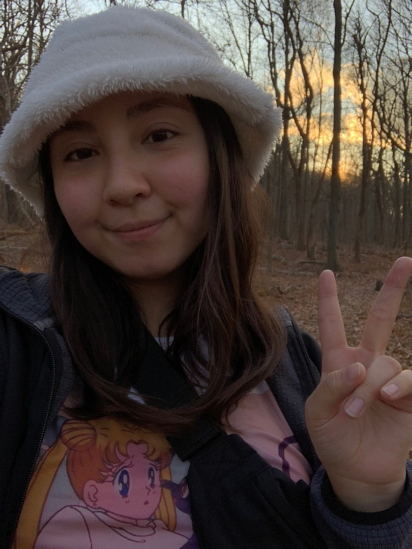 Kayla in our Fuzzy Bucket Hat