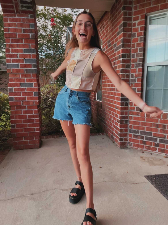 Haley in our Juniper Hue Paige Tank