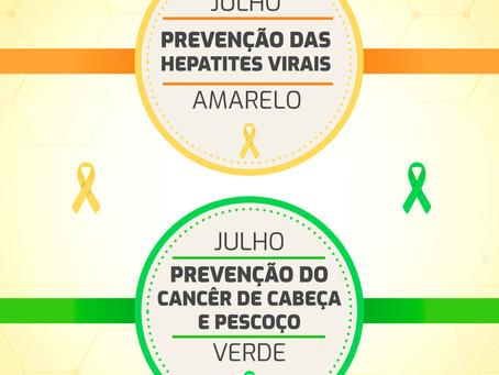 Julho Verde/Amarelo - Combate às hepatites virais e Câncer de Cabeça e Pescoço
