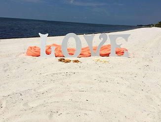 love sign with starfish decoration