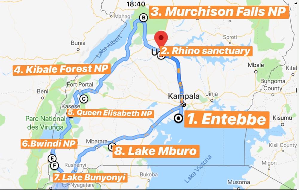 Uganda-Reiseroute-Rudnreise-individual