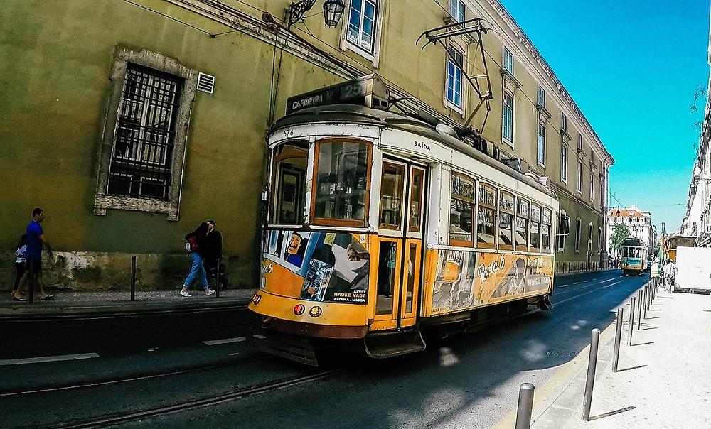 Lissabon-Straßenbahn-Foto-Urlaub