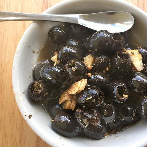 """Olives noires marinées """"apéro""""190 g net"""
