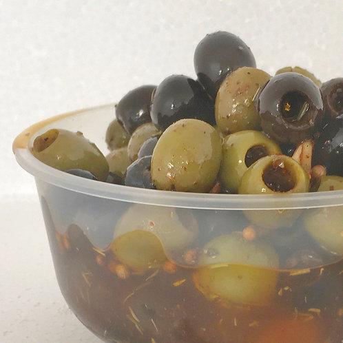 """Olives mixtes en marinade épicée """"apéro"""" 190 g net"""