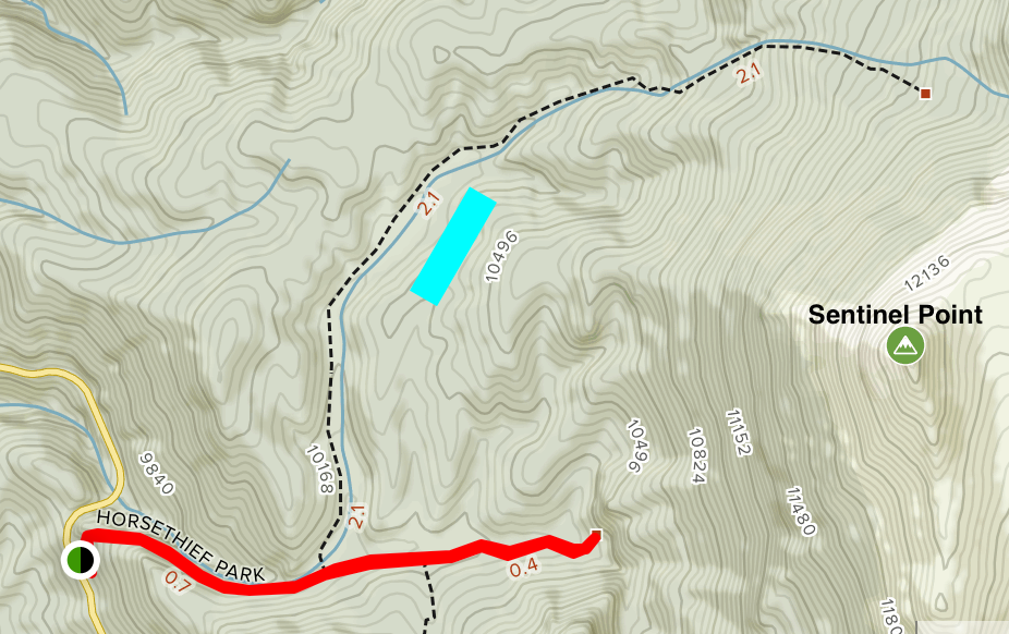 Hiking trail map surrounding property