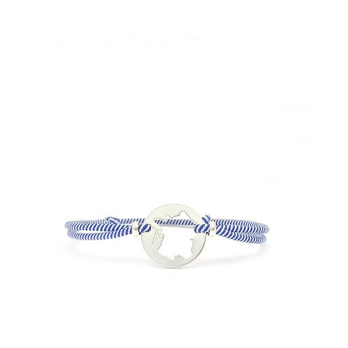bracelet france la marinière argent cordon bleu et blanc