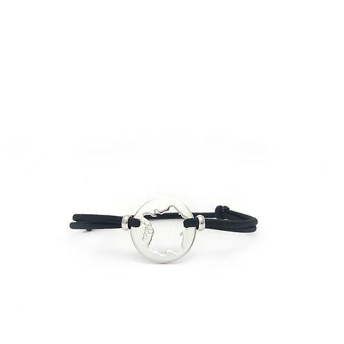 bracelet france argent cordon noir