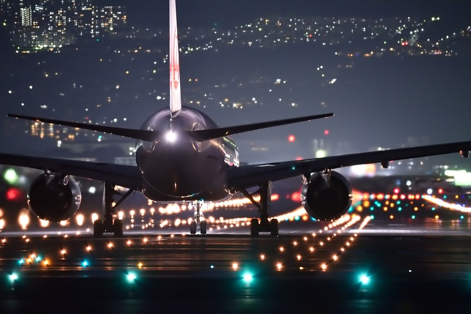 airplane at night
