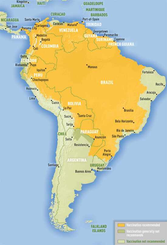 yellow fever risk areas South America