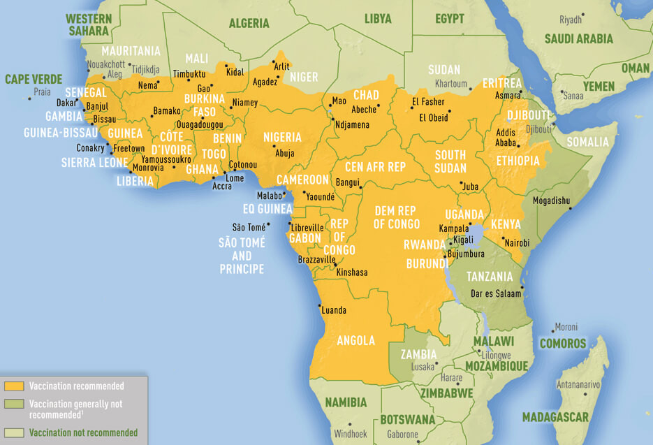 yellow fever risk areas Africa