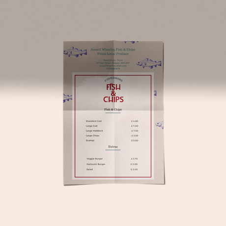 fish and chip shop price list