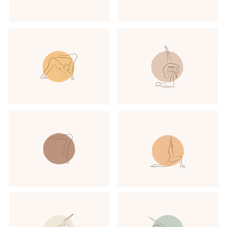 8 Yoga pose Illustrations shown on circles showing the brand colours