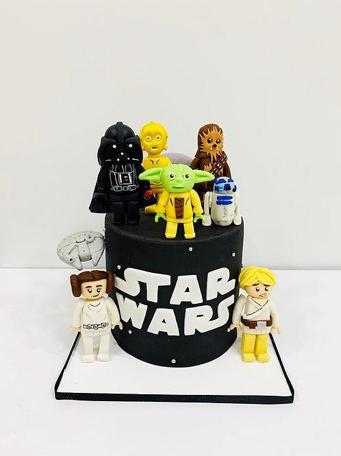 Pastel de Fondant Star Wars con 1 figura
