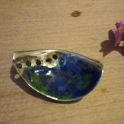 Enameled paua shell necklace