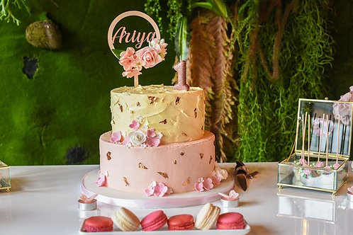 Personalised wooden floral cake topper