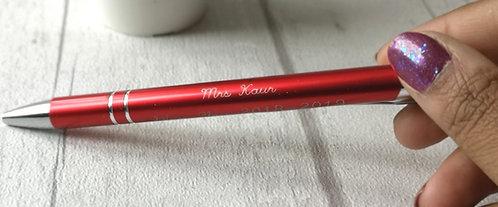 Personalised engraved pen