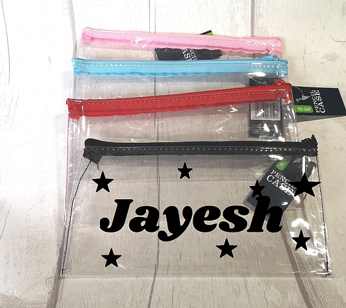 Personalised clear pencil case