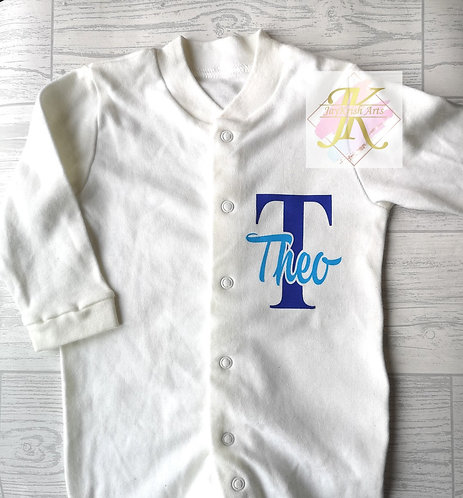 Personalised Name baby Sleepsuit