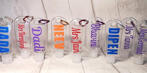 Personalised Hand Sanitiser bottles refillable