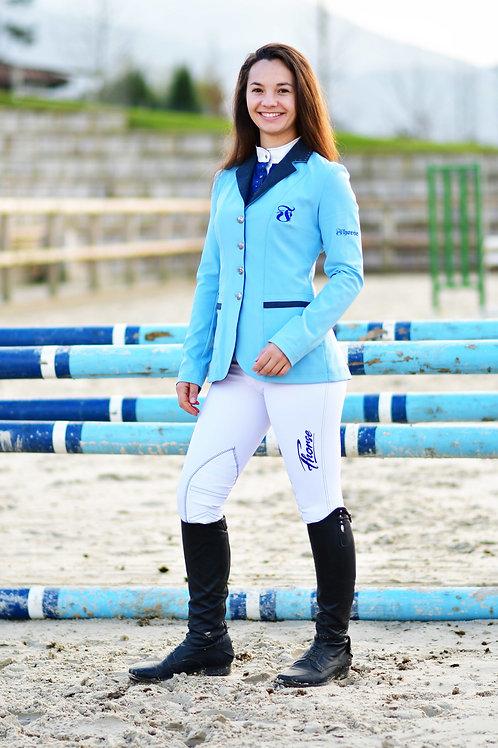 Pantalon Fhorse Blanc / Broderie Bleue Marine / Grip Silicone
