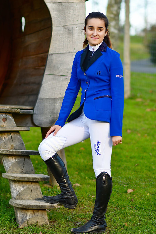 Pantalon Fhorse Blanc / Broderie Bleue