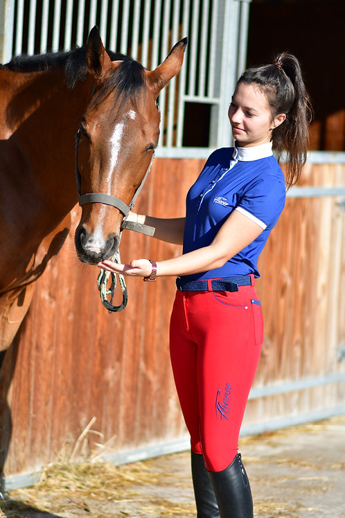 Pantalon Fhorse Rouge / Broderie Bleue / Grip Silicone