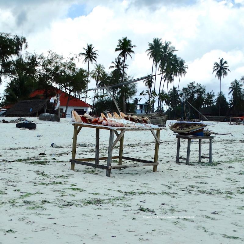 Coquillages en vente sur la plage de Nungwi. A éviter à tout prix!