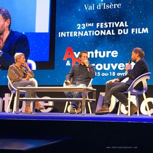 Hélène Gateau, Vincent Munier et Sylvain Tesson, après la diffusion de Ours simplement sauvage, Festival aventure & découverte, Val d'Isere
