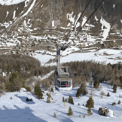 La télécabine du Fornet, à Val d'Isère (domaine skiable Val d'Isère -Tignes/Espace Killy)