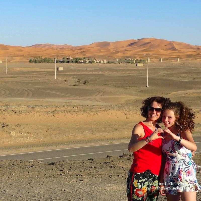 arrivée a notre hotel de Merzouga, aux pieds des dunes de l'Erg Chebbi