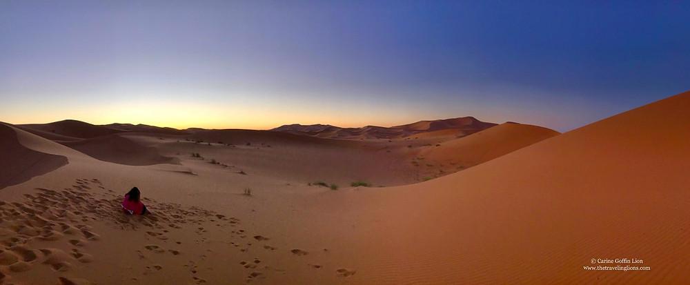 panorama lever de soleil sur l'Erg Chebbi - couleurs exceptionnelles