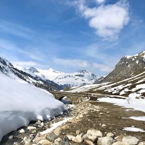 Paysage printanier sur la route du Col de l'Iseran