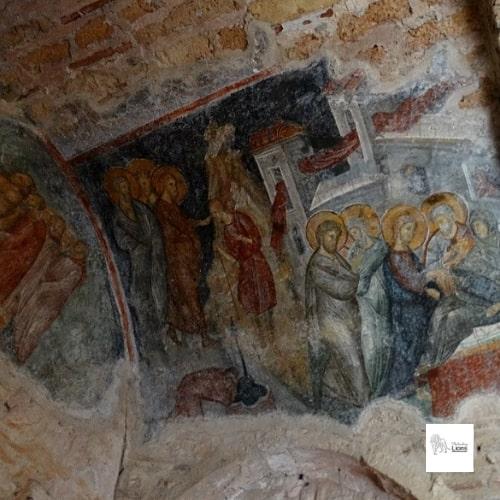 la guérison de l'aveugle et de la belle-mère de pierre, fresque murale de l'église de l'hogiditria, a mystra, dans le peloponnese