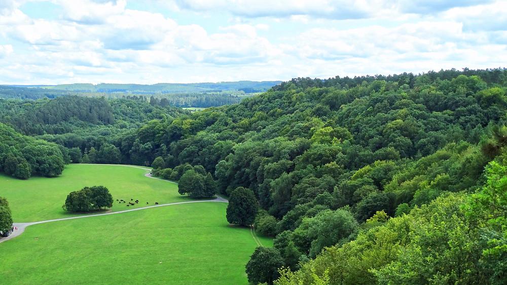 Superbe panorama sur la vallée, Ardennes belges, Domaine des grottes de Han
