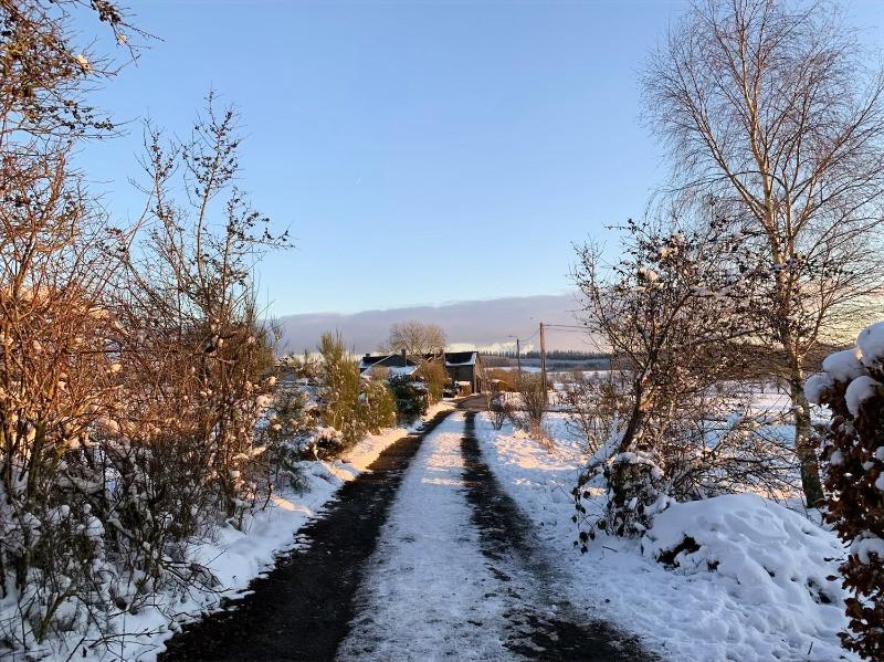 Chemin pittoresque de Monaville, dans l'entité de Bertogne, près de Bastogne, dans les ardennes belges