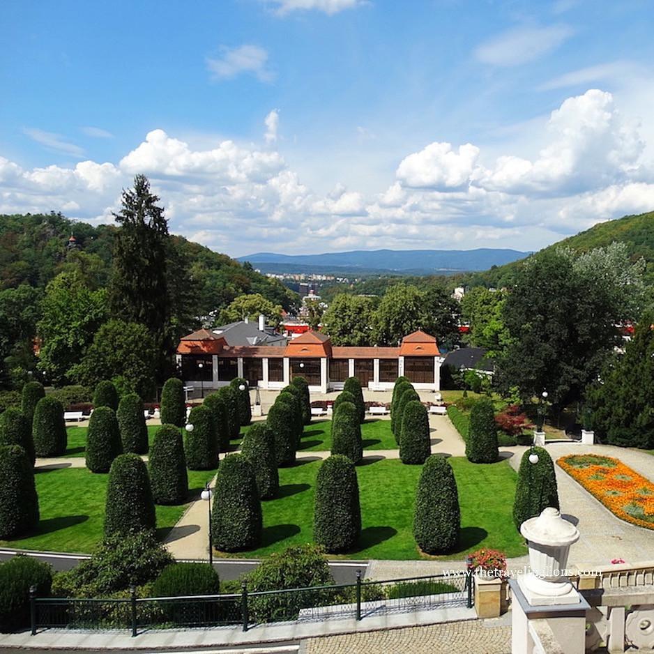 Panorama sur Karlovy Vary, depuis l'hôtel Imperial