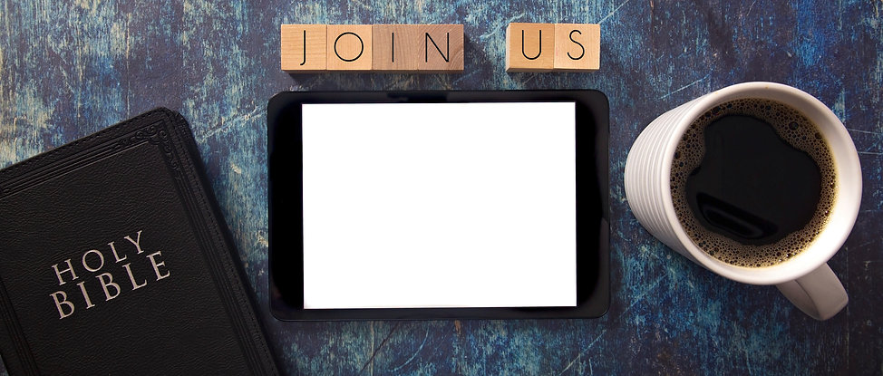 Join Us in Block Letters on a Wooden Tab
