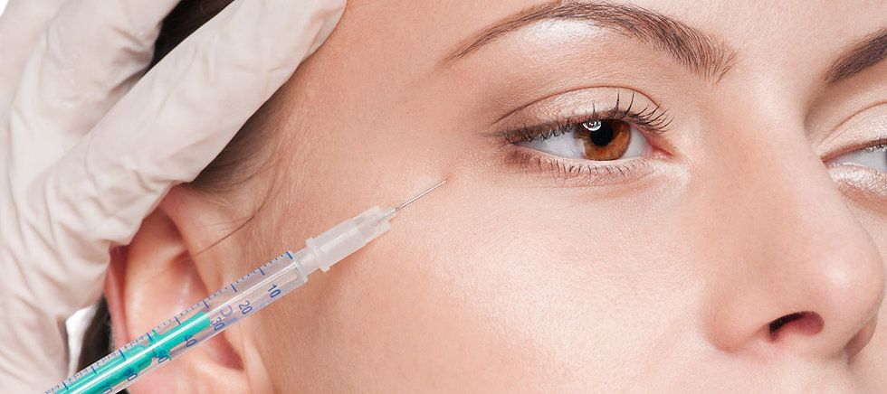 Botox injection into crows feet
