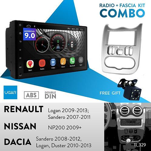 "7"" DSP Car Radio+Fascia Kit Compatible with Renault Logan 2009-2013; Sandero 200"