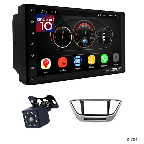 "7"" DSP Car Radio+Fascia Kit Compatible with Hyundai Accent, Solaris, Verna 17+"
