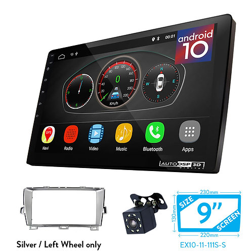 "9"" Android 10 Car Stereo + Fascia Kit for TOYOTA Prius (Left Wheel/Silver)"