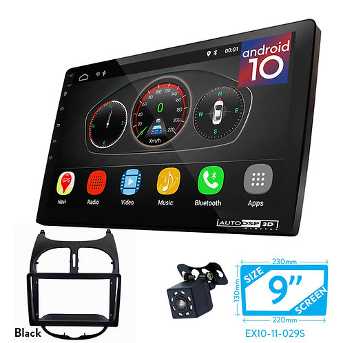 """9"""" DSP Car Radio+Fascia Kit Compatible with PEUGEOT (206) 1998-2007"""