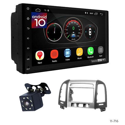 """7"""" DSP Car Radio+Fascia Kit Compatible with Hyundai Santa Fe 06-12"""