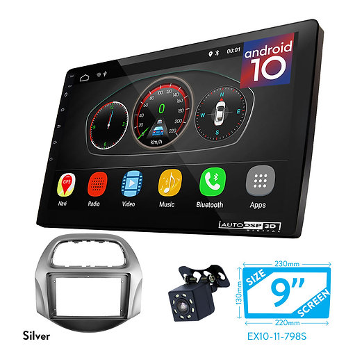 """9"""" Android 10 Car Stereo + Fascia Kit for CHEVROLET Spark GT, Beat 2018+"""